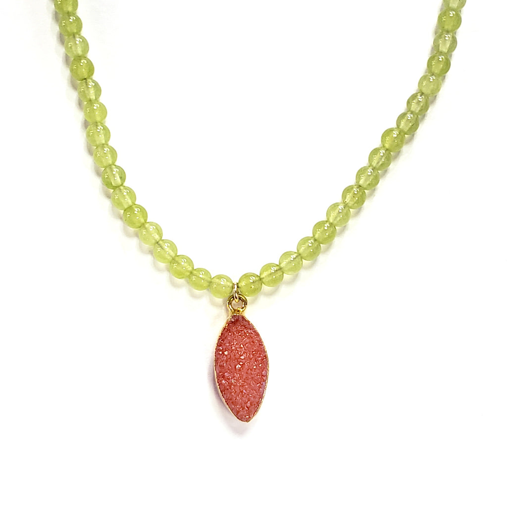 Jade & Pink Druzy Necklace