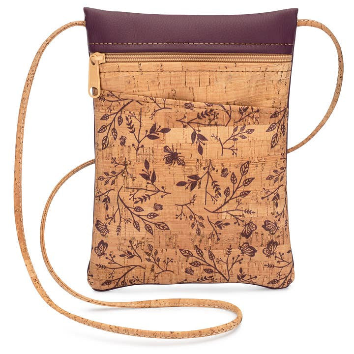 Mini Crossbody Cork Purse-Wine Floral