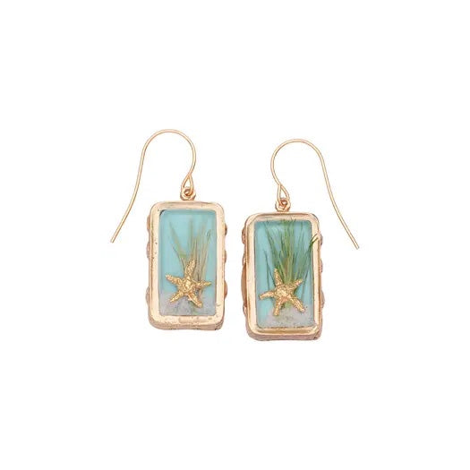 Sand Dune Earrings-Gold, Rectangle