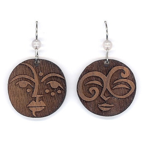 Wood Face Earrings