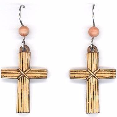 Wood Cross Earrings
