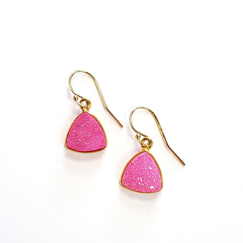 Triangle Druzy Earrings-Pink