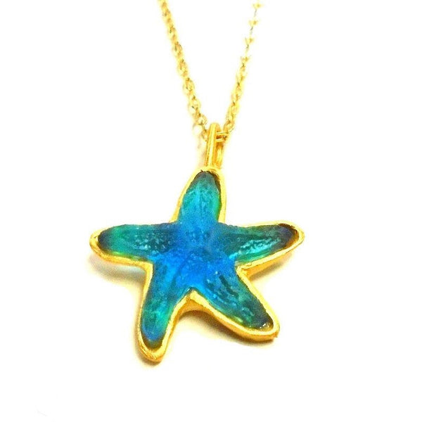 Glass Starfish Necklace-Turquoise