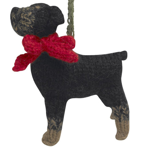 Hand Knit Dog Ornament-Rotweiller