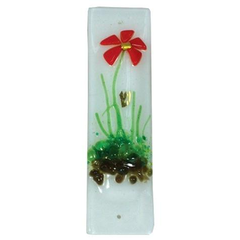Red Flower Mezuzah