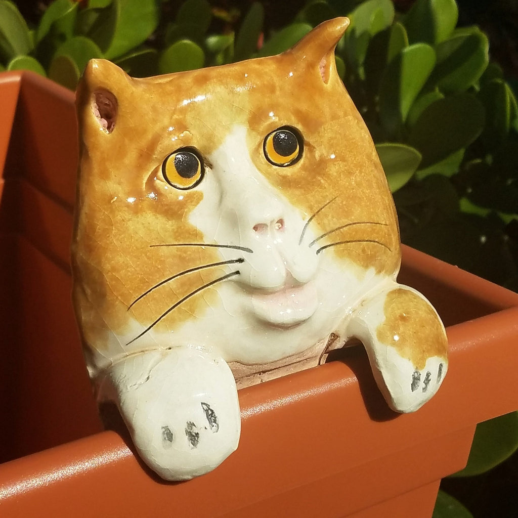 Flower Pot Friend-Orange & White Cat
