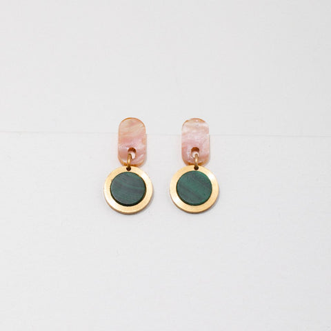 Ruth Earrings-Malachite