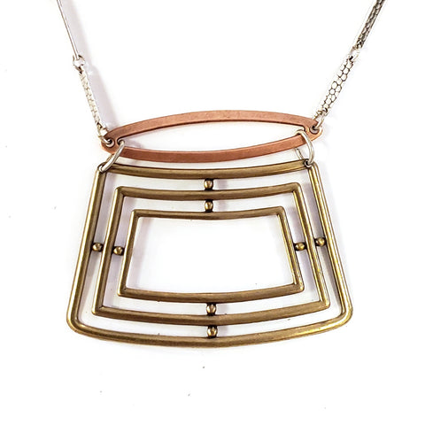 Mid-century Industrial Square Necklace