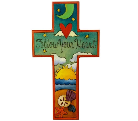 Sticks Cross Plaque-Follow Your Heart | Sticks | Random Acts of Art | Naples Florida