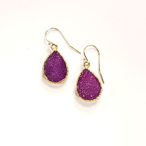Teardrop Druzy Earrings-Plum