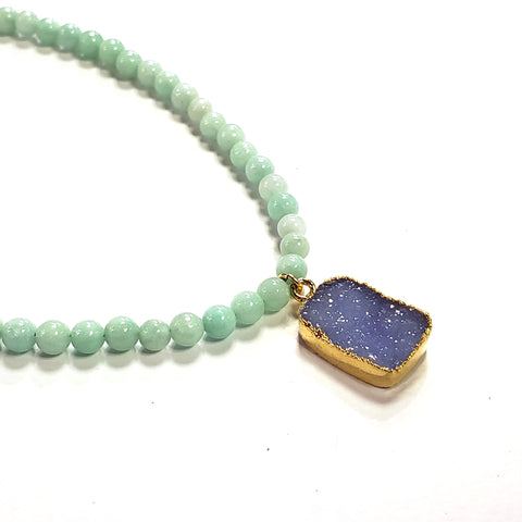 Seafoam Jade & Purple Druzy Necklace
