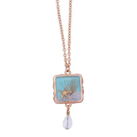 Sand Dune Necklace-Gold, Square Drop