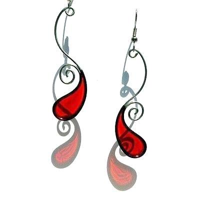 Resin Earrings-Red