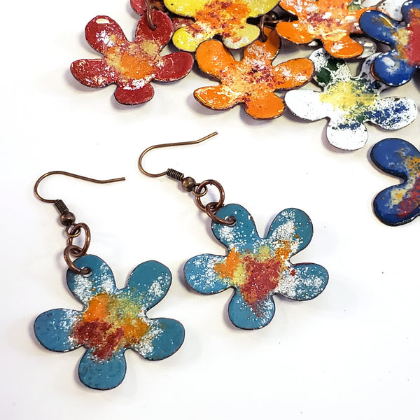 Copper Enamel Flower Earrings