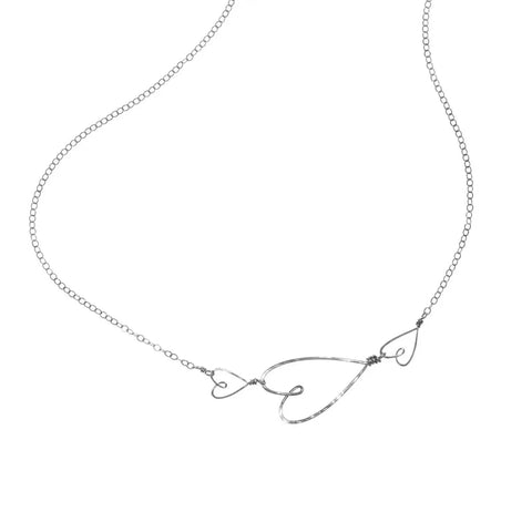Triple Heart Necklace-Silver