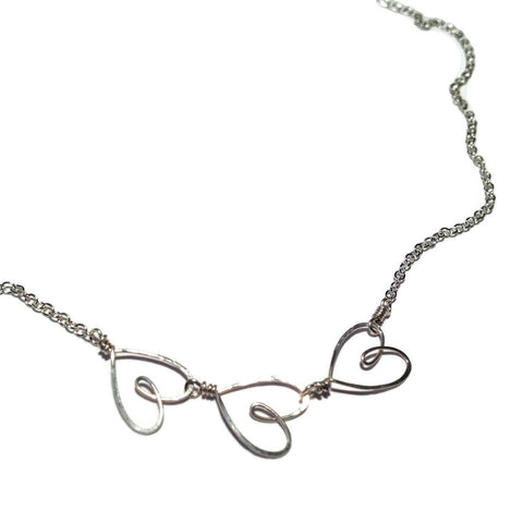 Tiny Triple Heart Necklace-Silver