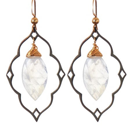 Filigree Earrings Marquee Moonstone