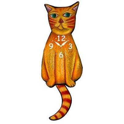 Tail Wagging Clock-Yellow Cat