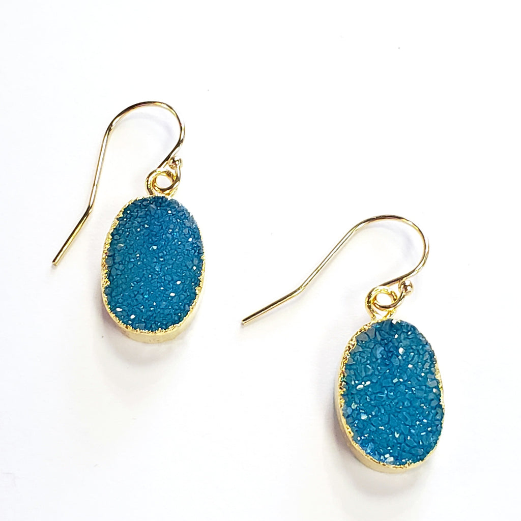 Oval Druzy Earrings-Aqua