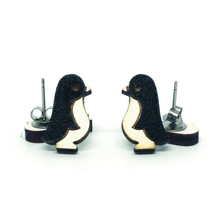 Wood Penguin Earrings