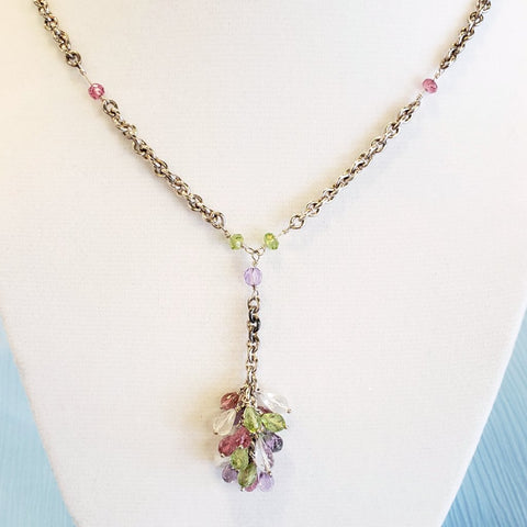 Pastel Cluster Gem Necklace
