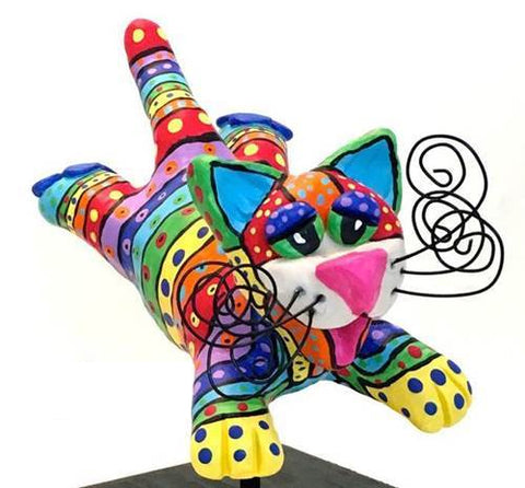 Flying Cat Sculpture-Rainbow