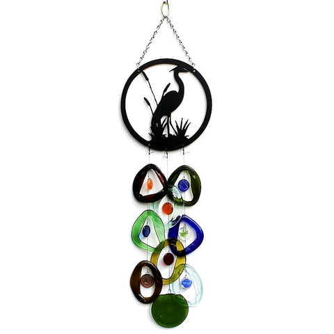 heron glass wind chime