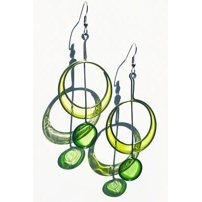 Resin Earrings-Lime, Green