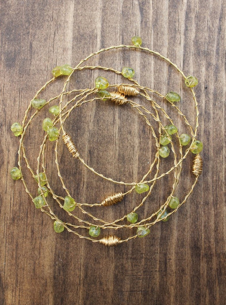 Recycled Guitar String Bracelet-Peridot