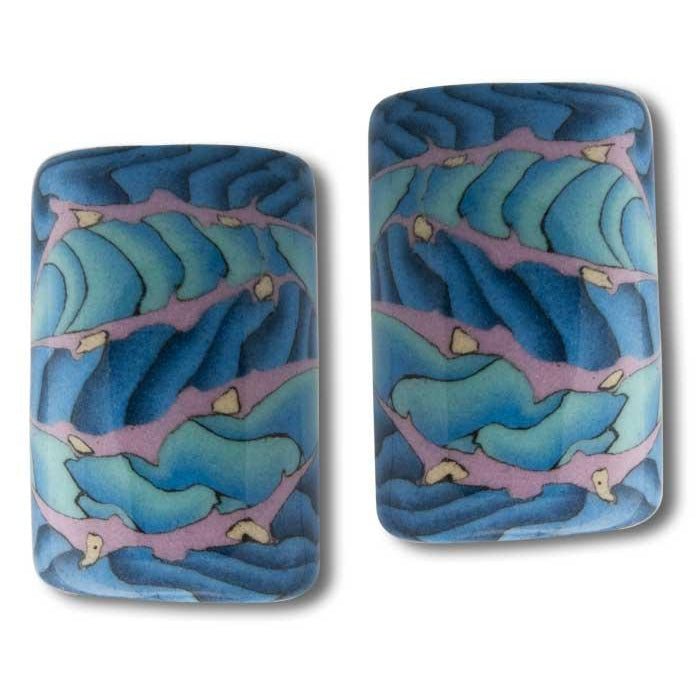 Porcelain Rectangular Earrings-Heron