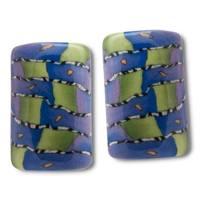 Porcelain Rectangular Earrings-Rodeo
