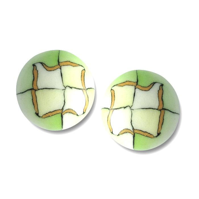 Porcelain Button Earrings-Kiwi