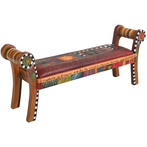 Rolled Arm Bench with Leather Seat (8730)