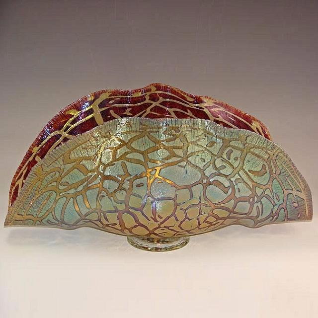 Clam Shell Bowl-Copper & Ruby