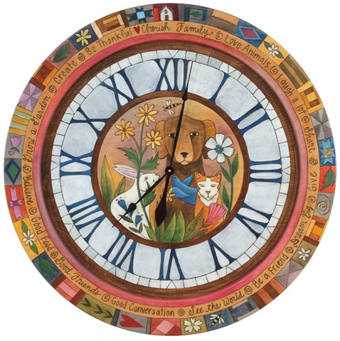 Lg. Round Wall Clock-Animal Lovers