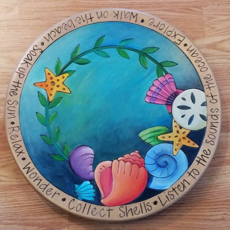 "Sticks Lazy Susan 16""-Sea Shells on Blue"