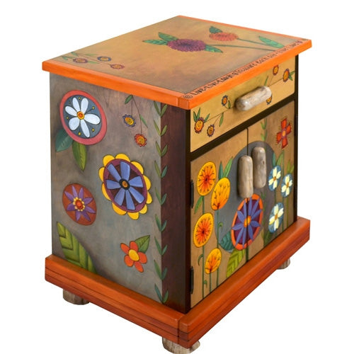 Sticks Nightstand Cabinet-Contemporary Floral