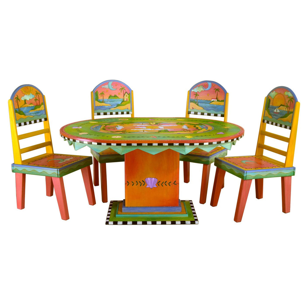 Oval Dining Table & Chairs-Tropical