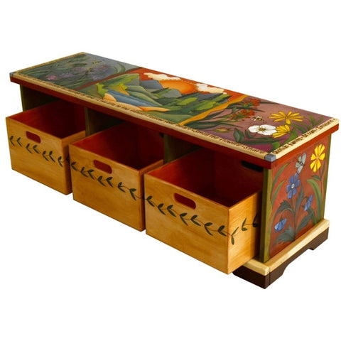 Storage Bench with Wood Boxes (3640)