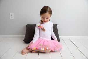 Kids Tutu Skirt With Multicolor Pom Pom Balls and Bow Hair Tie - 2Pcs Set
