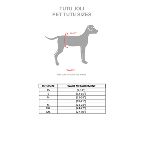 dog tutu measurements, dog waist measurements, Dog size measurements, tutu joli, pet sizing, pet sizes for tutus, pet outfit measure, how to measure a  dog for a st patricks day tutu costume