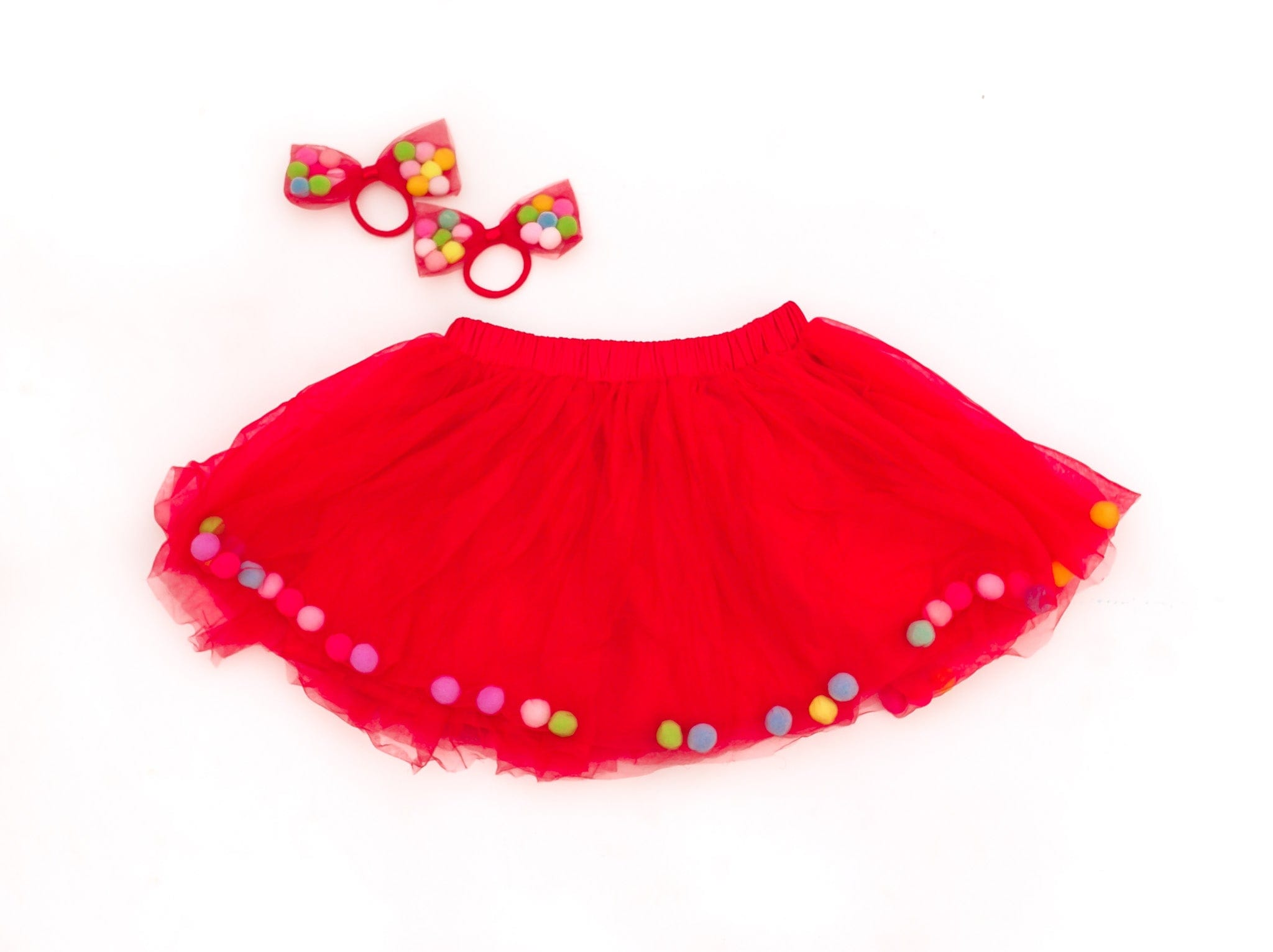 red pom pom tutu, christmas tutu, valentines day tutu for kids, baby red tutu, toddler baby tutu, kids red tutu, tutu, tootoo, red bow ponytail holder, red bows for kids, pom pom bows, pom poms, tutu joli, fun tutu, party tutu, photoshoot tutu