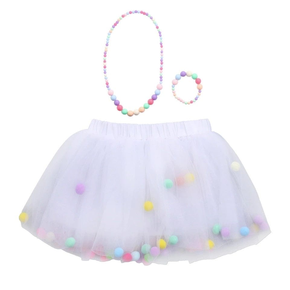 Tutu Skirt With Pom Pom Balls & Necklace and Bracelet Accessory - 3Pcs Set