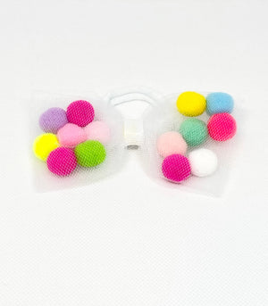 pom pom hair tie bow for children