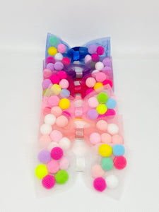 Bow hair ties with pom pom balls