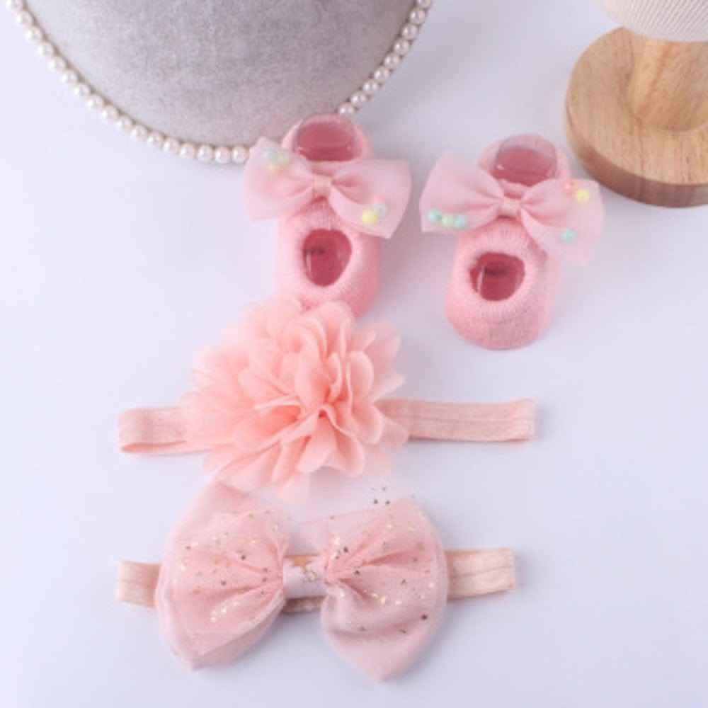 pink baby socks, infant socks, socks and headband set, baby shower gift set for girl, pom pom bow, flower headband, bow headband for babies, baby shoes pink