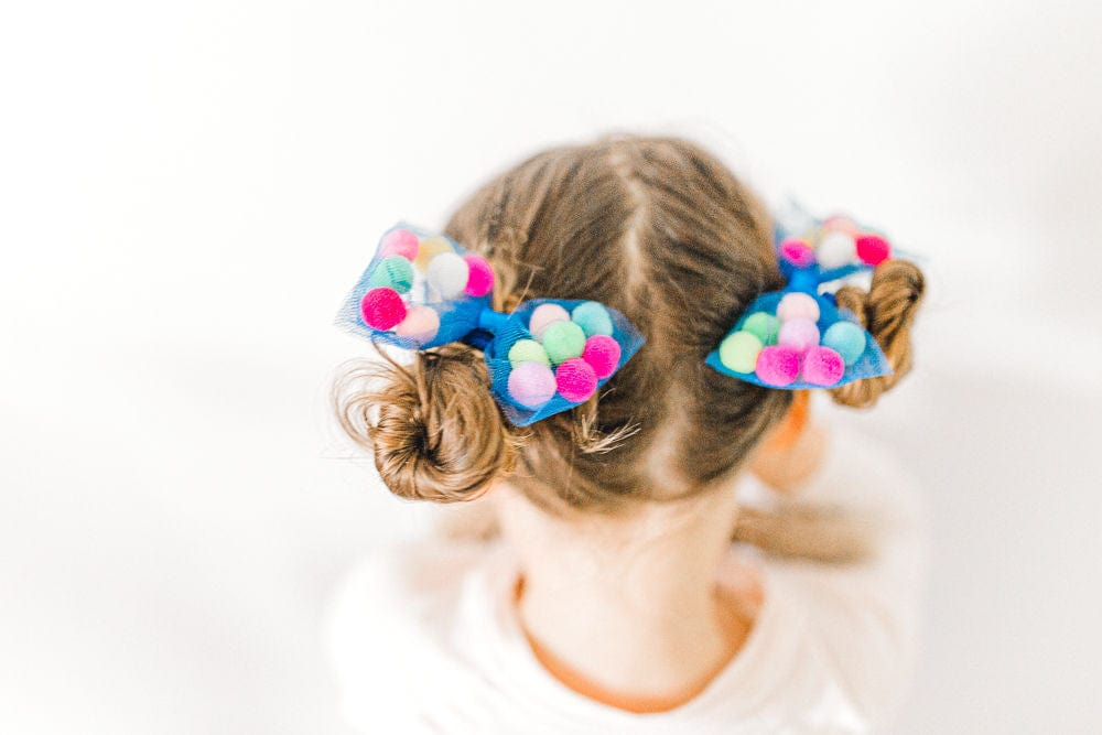 "Bow Pom Pom Hair Ties | 4"" Bow - 2Pcs 