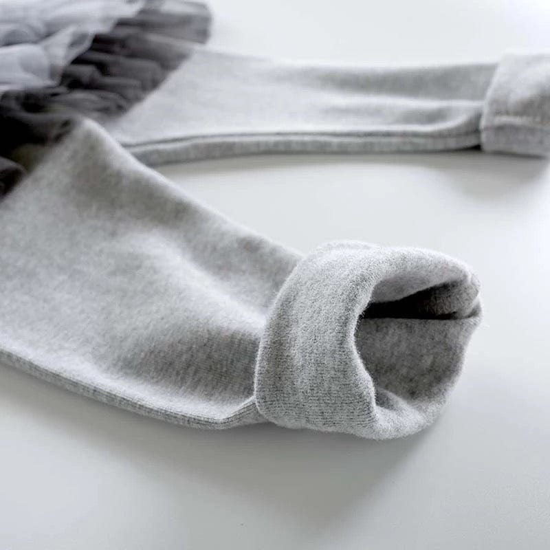 gray thick warm leggings for children by tutu joli