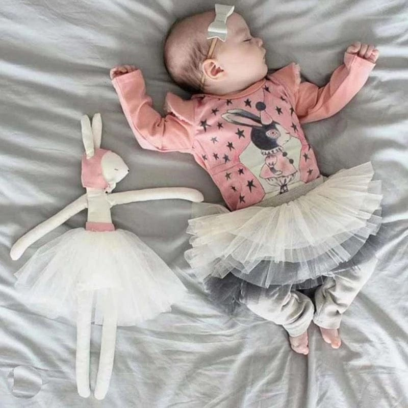 Baby and Toddler Cotton Leggings With Tutu Skirt (Pink or Gray) by Tutu Jólí