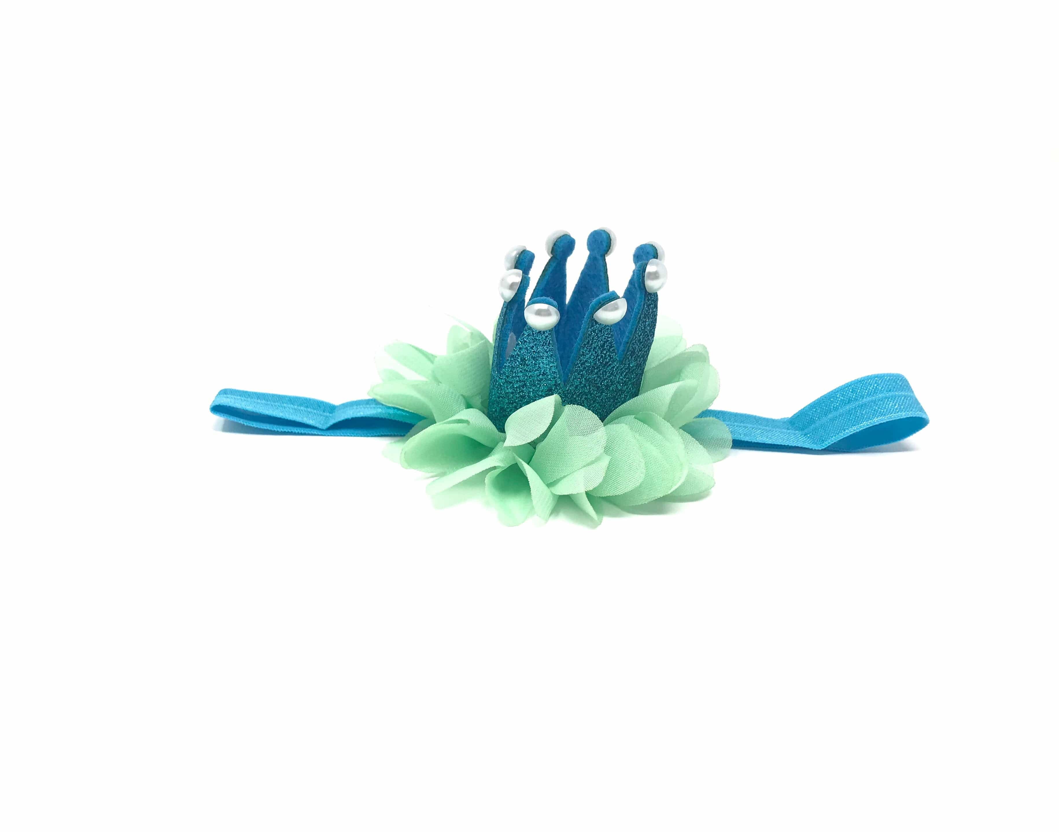 blue prince frog, blue green pearl crown headband tutu joli with tutu skirt for babies